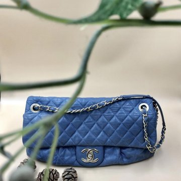 Chanel Blue Lambskin Flap Bag with Antique Gold Hardware