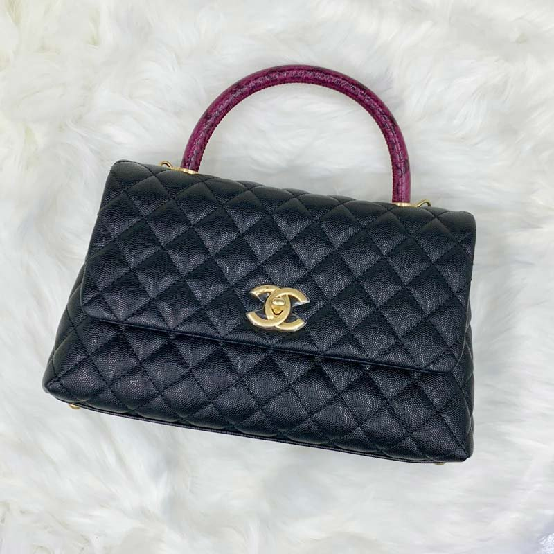 Chanel Coco Small Flag Bag with Top Python Handle