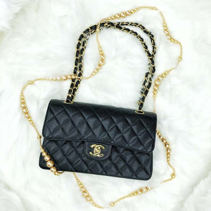 Chanel Classic Small Shoulder Bag with GHW in Caviar