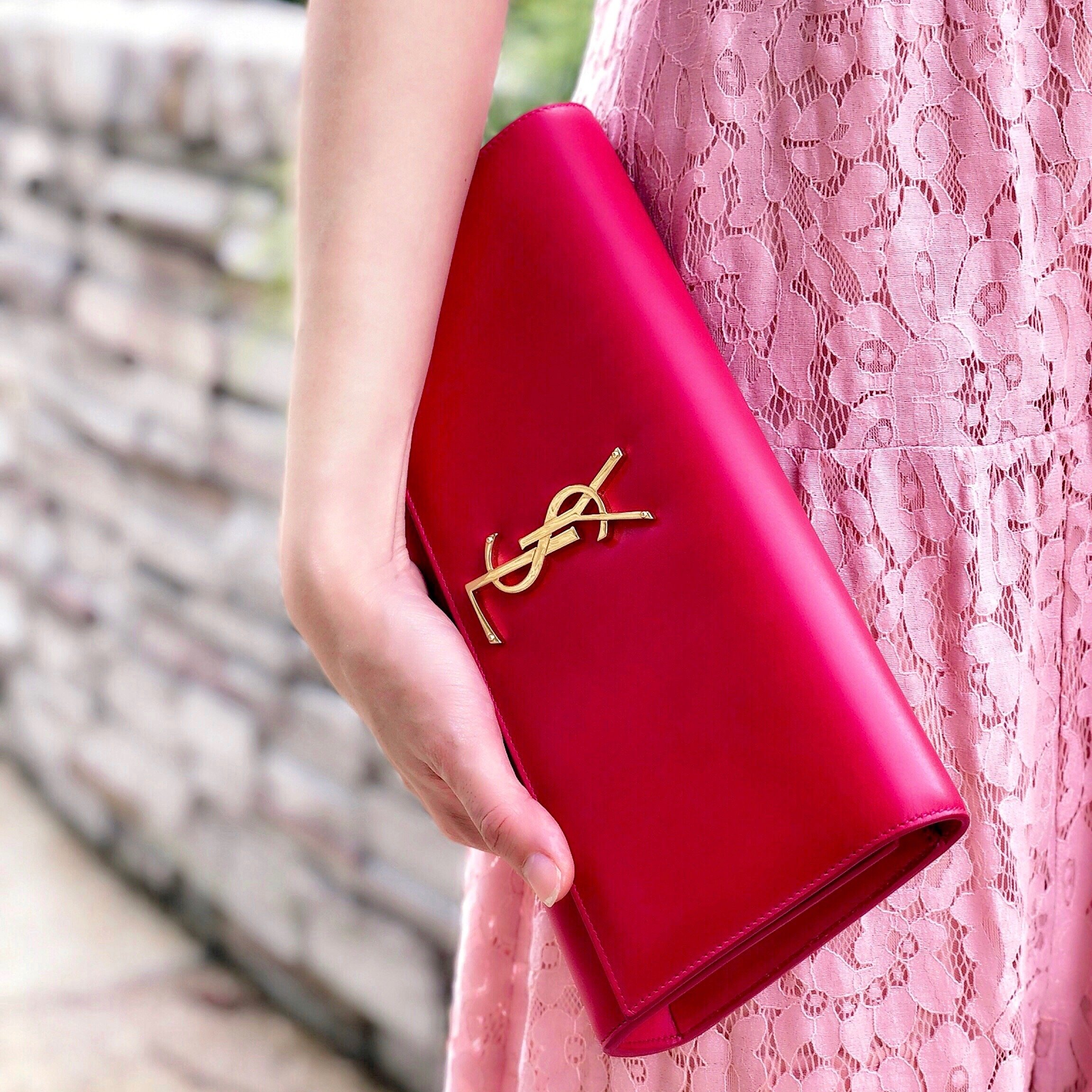 YSL Fuchsia Kate Clutch Smooth Skin