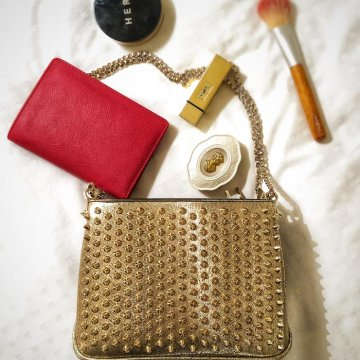 Christian Louboutin Gold Triloubi Small Chain Bag