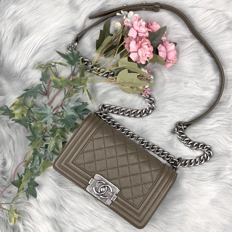 Chanel Boy Chanel Small in Olive Caviar with Ruthenium hardware